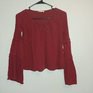 Hollister Bell Sleeve Cropped Hippie Peasant Top